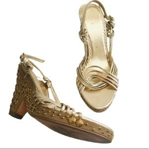 NEXT. Gold. Studded. Wedges/Shoes